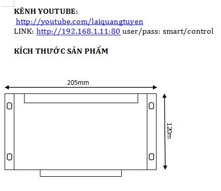 Thông tin thiết bị smart control 2014