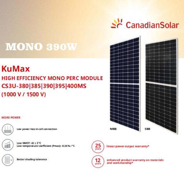 Tấm pin Canadian Mono KuMax 390W